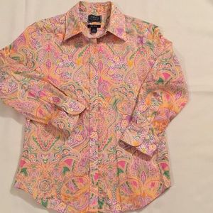 Chaps Size Small Spring Paisley Blouse